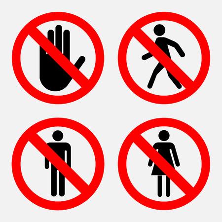 prohibido: Conjunto de señales de prohibición, el paso de las mujeres y Mister prohibido transeúntes prohibidas