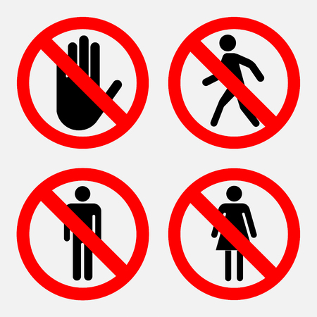the passage: Set of prohibition signs, the passage of women and Mister prohibited passers prohibited Illustration