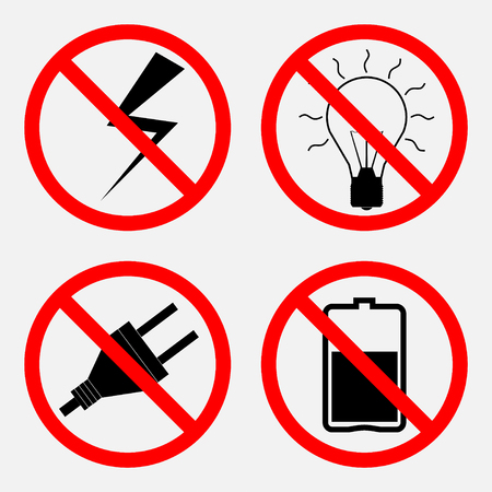 fire works: set of signs prohibiting Electric operation, the battery is prohibited