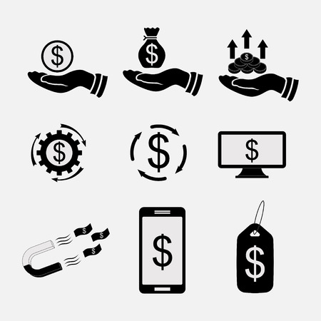dollar icon: set icons money, bank transfers and cash
