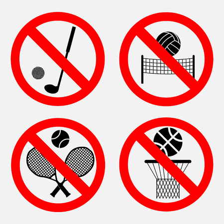 football play: set of signs prohibiting games, basketball games there, no playing volleyball, there is a great tennis game, no game of golf Illustration