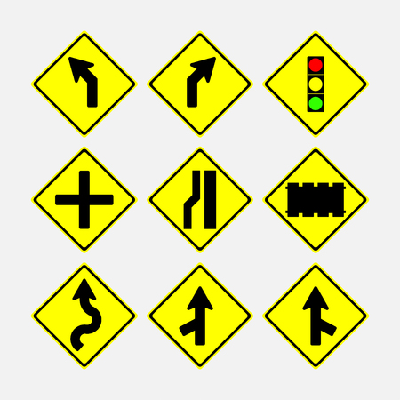 set of road signs, direction of movement, in a yellow diamond