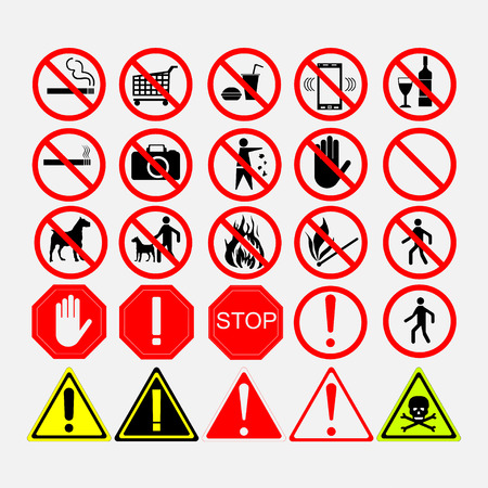 warning signs: set of road signs, warning signs or prohibiting signs, European road signs Illustration