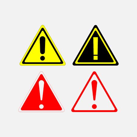 Warning signs set, red yellow white triangle Illustration