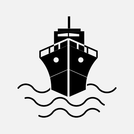 icon ship, sailing on the ship, Journey sea port, fully editable vector image Illustration