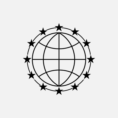 icon stars around the earth, selected, peace, fully editable vector image