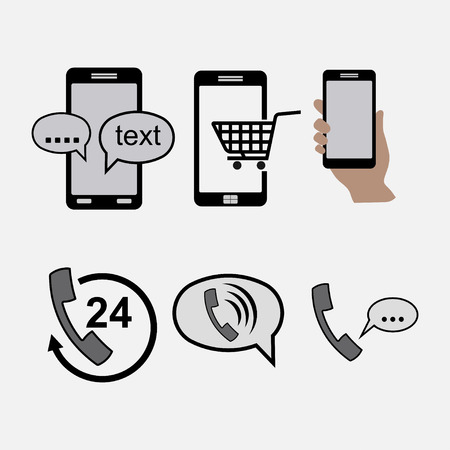 outgoing: icons phones, communications, incoming outgoing calls messages Illustration