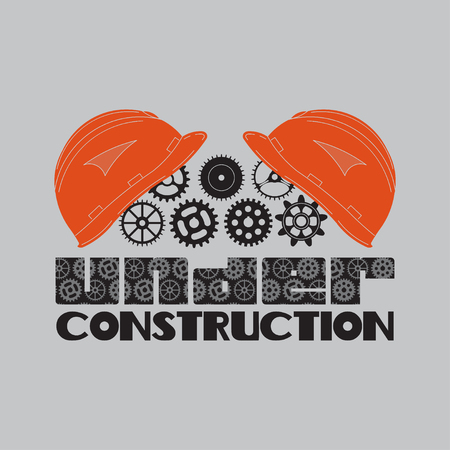 mine site: icon under construction, helmet, gear, technological mechanisms, fully editable vector image