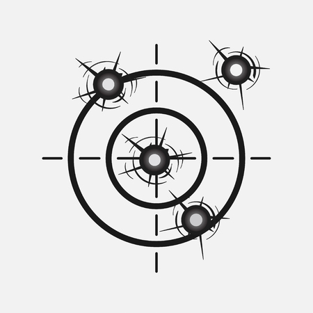 gun holes: target image with a shot, hitting the target, competition, rivalry, accuracy, study, WAR, fully editable vector image Illustration