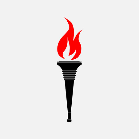 icon torch, the flag, lighting of castles, Olympiad, fully editable vector image