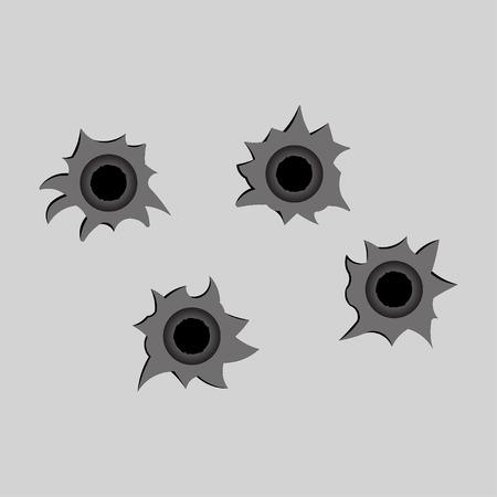 gun holes: image bullet holes, shot, fully editable vector