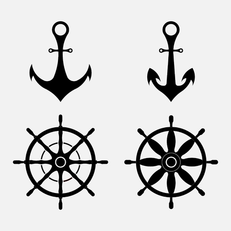 set of images of an anchor and steering wheel, nautical symbols, fully editable vector image