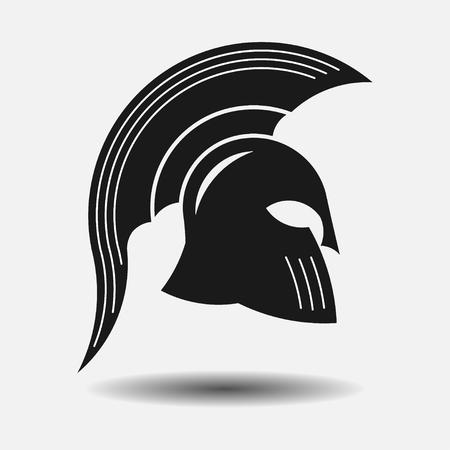 roman soldier: icon spartan helmet, silhouette greek warrior, gladiator