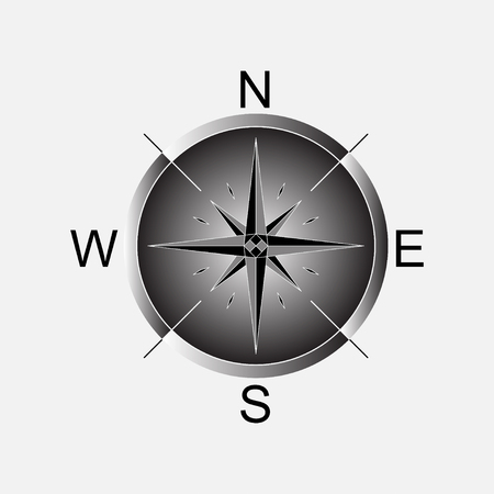 latitude: Compass, compass rose, navigation, location fully editable vector image Illustration