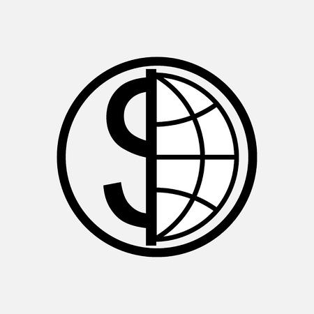 icon global currency, money, globe, planet, logo fully editable vector image Çizim