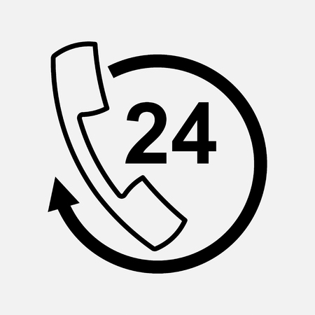 icon handset support, communication 24 hours, fully editable vector image Illustration