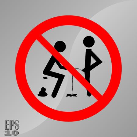 Verbot Zeichen zu scheißen und zu pissen, ein Zeichen der Hygiene, Sauberkeit der Toiletten, voll editierbar Vektor-Bild
