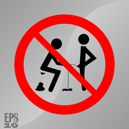 prohibiting sign to shit and piss, a sign of hygiene, cleanliness of toilets, fully editable vector image