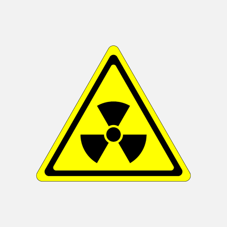 irradiation: danger sign radiation, symbol threat, radiation warning sign in a yellow triangle, fully editable vector image