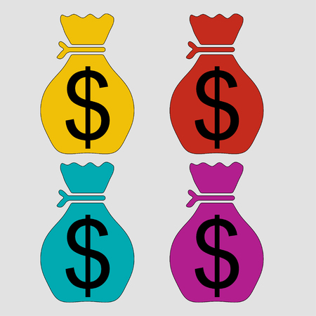 icon bag of money, saving money, fully editable vector image
