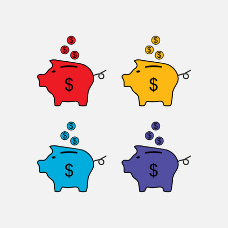 fully: set vector icons piggy bank, saving money, the safety of money, fully editable vector image