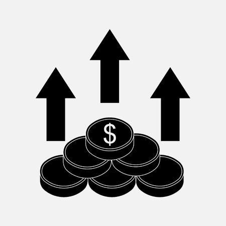 fully editable: money icon, the direction of money, concept of success, profit, image income, fully editable vector image