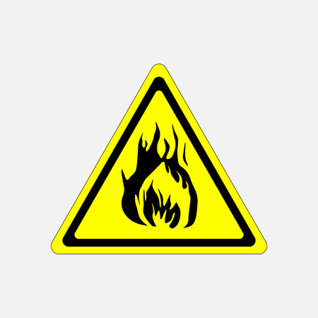 flammable: fire alarm sign yellow triangle flammable substance, fire, fully editable vector image Illustration