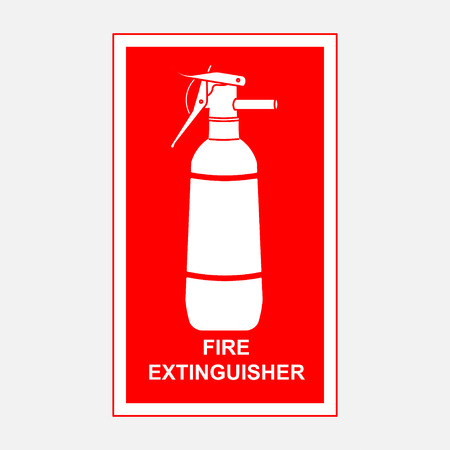 fire extinguisher sign, security, fire-extinguishing fully editable vector image Illustration