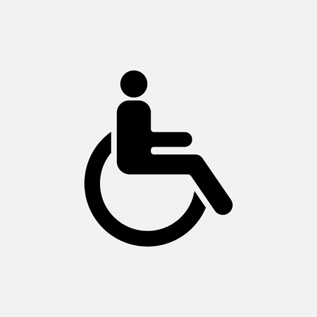 icon movement of persons with disabilities, concept, black and white image, a sign, fully editable  image