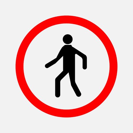No crossing Prohibited signs walking man, silhouette of man editable vector illustration