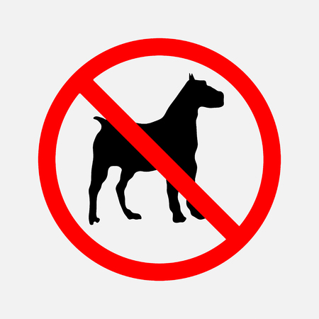 permissible: no dogs sign, prohibitory sign, dogs are not allowed passage, the passage is NOT permissible, editable vector image Illustration