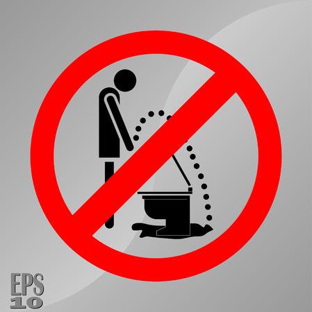 Pisverbodsteken, een teken van hygiëne, netheid van toiletten, volledig bewerkbare vector afbeelding