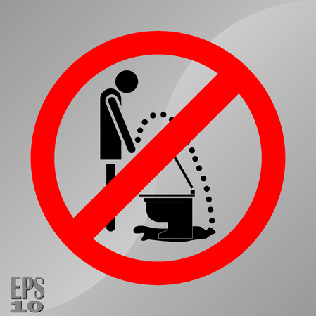 piss prohibition sign, a sign of hygiene, cleanliness of toilets, fully editable vector image Illustration