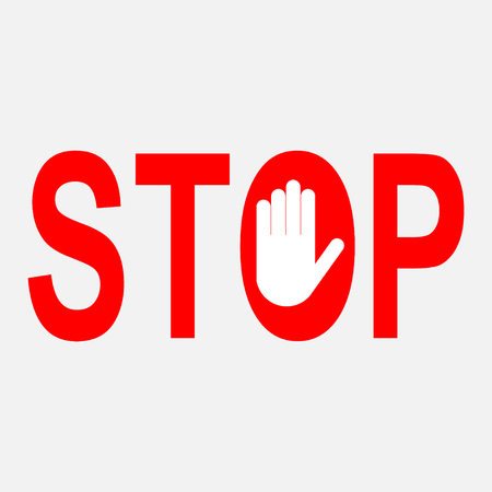red stop sign, the sign of the reflection stop sign, a sign of a burly stand sign prohibited activities with the hand, fully editable vector format, EPS 10