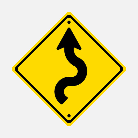 danger ahead: road sign winding road, winding road, fully editable vector image