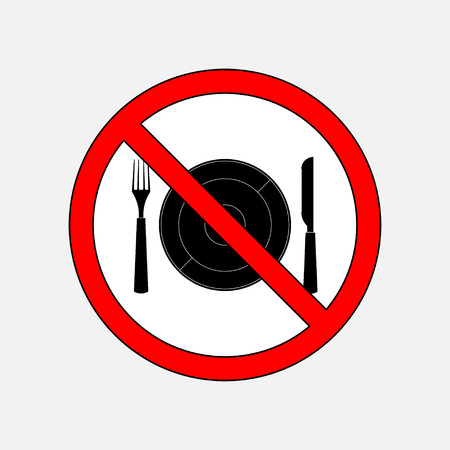 fully: prohibiting sign eat, cutlery knife and fork, without food, fully editable vector image