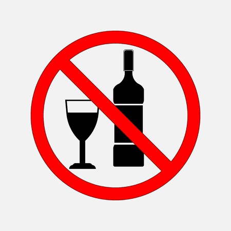 not prohibiting signs of food and alcohol, no alcohol, no alcohol, no food, prohibitory sign. editable vector image