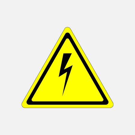 yellow beware: sign high voltage danger, characters in yellow triangle, fully editable vector image Illustration