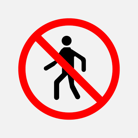 sign of the passage is forbidden, there is no input, the input hapreschen people, editable vector image Illustration