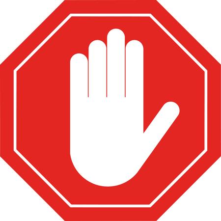 赤い八角形停止記号アーム停止禁止様々 な活動