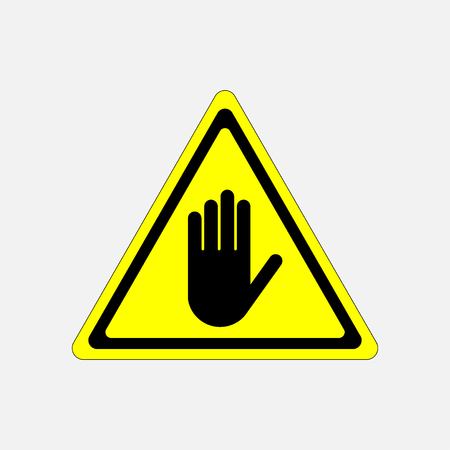 STOP, no entry hand sign, attention, hand on a yellow background in the triangle fully editable vector image