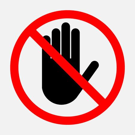 정지 신호, 빨간색 라운드 기호, 활동을 금지하는 기호 편집 가능한 벡터 일러스트