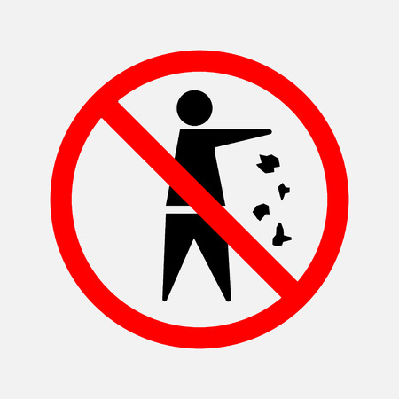 It is forbidden to throw garbage, we can not throw garbage, no debris, editable vector image Stock Photo