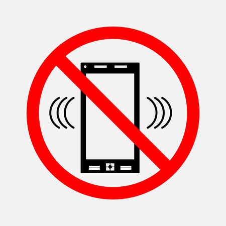 can not: the sign can not call, it is forbidden to call, editable vector image