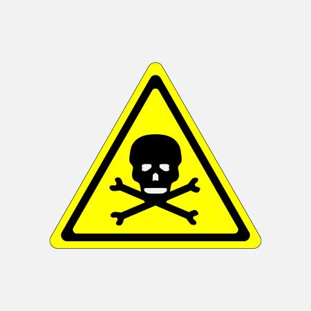 yellow beware: skull danger sign, deadly danger sign, warning sign, danger zone Stock Photo