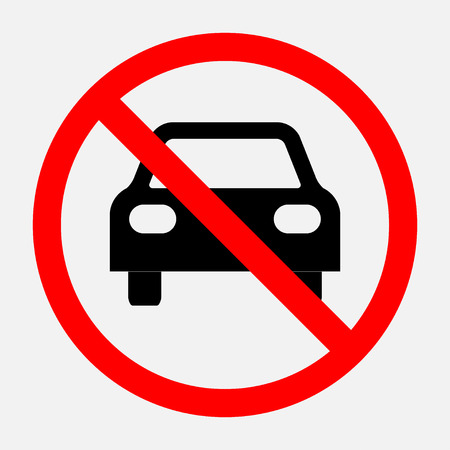 het verbod op teken reizen is verboden, geen parkeren, geen parkeerplaats, volledig bewerkbare vector afbeelding