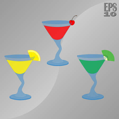 icons of cocktails and drinks, alcoholic beverages, exotic drinks, fully editable vector image Illustration