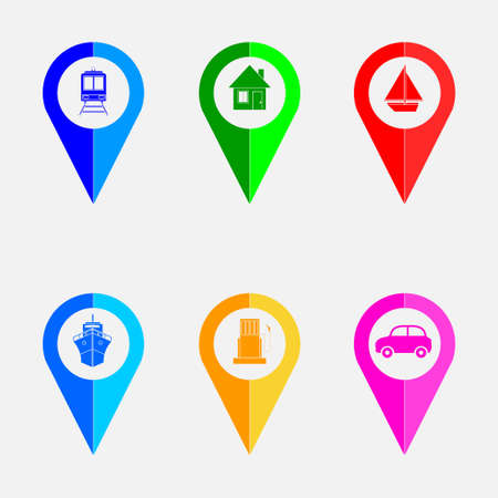 set of colorful pointers on the map icons marker points on the map, fully editable vector image