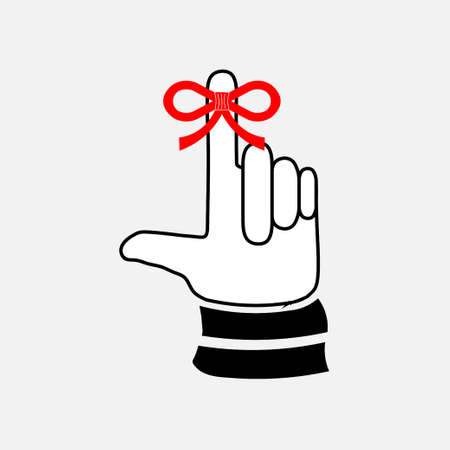 icon hand with a finger, bow, ribbon, fully editable vector image