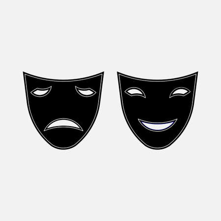 icon sad and funny masks, theater, carnival, mystery, fully editable vector image